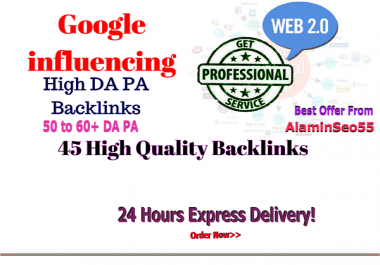 Get 45 Backlinks from Web 2.0 Profile 50 to 60+ DA PA