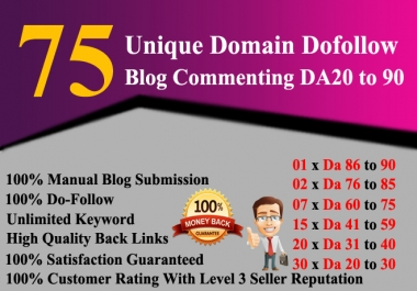 Build 75 Unique Dofollow Backlinks Da 20 To 90 Plus