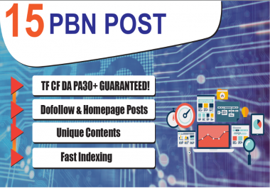 15 Dofollow & Homepage PBN Backlinks - DA PA TF CF UPTO 30 Plus