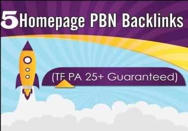 Provide 5 High DA PA Permanent Homepage Pbn Backlinks