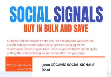 3000 ORGANIC SOCIAL SIGNALS AND 50 SHOUTOUTS TO 1 MILLION PEOPLE ON SOCIAL NETWORKS
