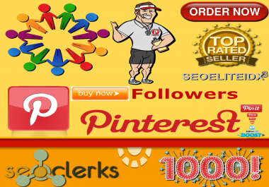 One Thousand (1000) Social Media Pinterest Profile Followers Non Drop Life Time Guaranteed
