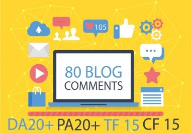 do 80 Uniqe Domain Dofollow Blog Comments High Da25+ Pa20+