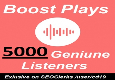 Music promotion 5000 Unique Listeners Album Artist Playlist Stream Hits