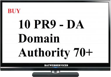 10 PR9 - DA (Domain Authority) 70+