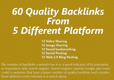 Skyrocket Your Ranking With Our 60 SEO Backlinks From 5 Different Platforms