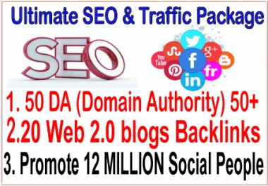 SEO Rank campaigns- 50 DA (Domain Authority) 50- 20 Web 2.0 blogs-Promote 12 million social members