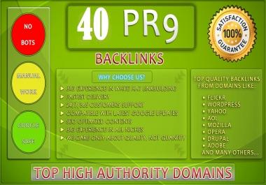 Exclusive Offer- DA 90+ All Pr9 40 Safe SEO High Profile Backlinks