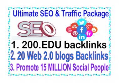 SEO & Social Traffic- Promote 15 Million Social people-200 .Edu backlinks-20 Web.20