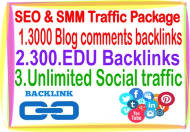 SEO & Social Traffic- Unlimited Social traffic-300 .Edu backlinks-3000 Blog comments backlinks