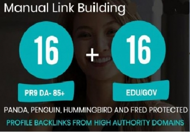 Get high quality 16 DA 80+ Profile backlink and 16 EDU/GOV Profile backlink