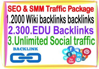 Google Safe SEO & SMM  campaign--2000 Wiki  backlinks- 300 Edu backlinks-Unlimited Social Traffic