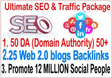 Top SEO& smm campaigns-50 DA (Domain Authority) 50+ Do-follow- 25 Web 2.0 blogs backlinks-Promote  12 Million social People