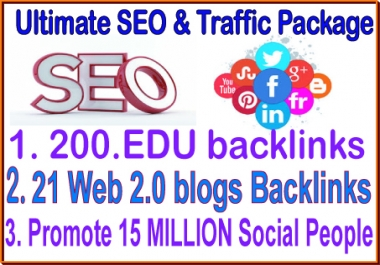 Best SEO & SMM campaigns-21 web 2.0 backlinks- 200 Edu backlinks-Promote 15 Million social People
