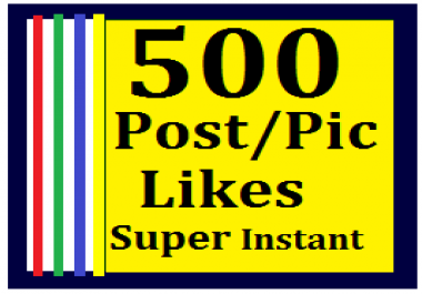 Instant 500+ Likes In Pic Or 10,000 Views in Video Super Instant