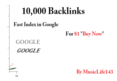 10,000 Backlinks for fast index in Google SEO