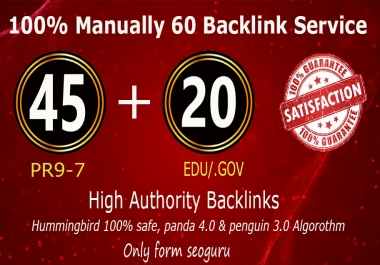 45 Pr9 + 20 Edu - Gov High Pr SEO Authority Backlinks - Fire Your Google Ranking