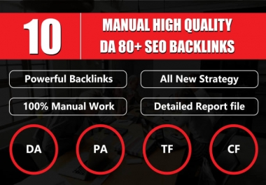 10 manual high quality DA 60 plus SEO backlinks