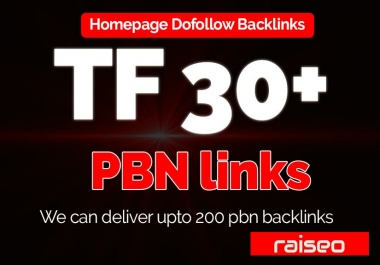Provide you 30+ TF CF Pbn Dofollow Homepage backlinks