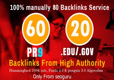 I'll manually do 60 PR9 + 20 EDU/GOV Safe SEO High Pr Backlinks 2019 Best Results for