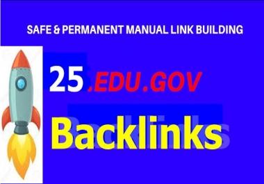 Handmade Skyrocket 25 High DA pr9 to pr5 with 25 Edu-Gov Backlinks