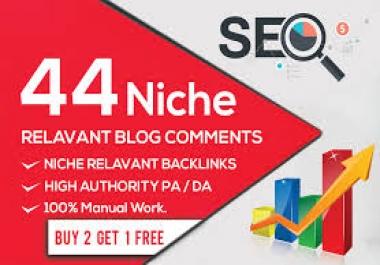 Provide 44 Niche Relevant Blog Comment Backlinks