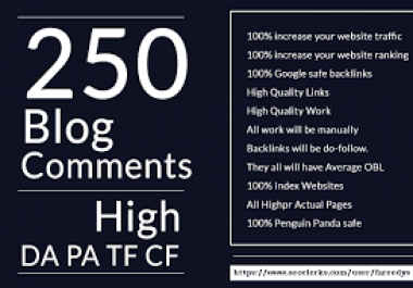 Provide 250 Dofollow Blog Comment Backlink high Quality