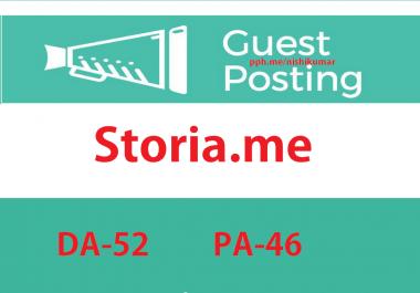 Write & Publish A Guest Post on Storia.me DA-52 Do-f0llow Backlink