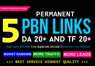 Create 5 PBN Authority Premium Backlinks   -HURRY NOW -LIMITED TIME OFFER