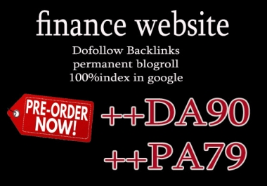 Give you backlinks Da90x10 site finance blogroll permanent