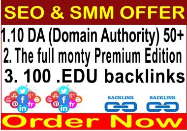 SEO & Social Traffic 2019- 10 DA (Domain Authority) 30- The full monty Premium Edition-100 Edu Baklinks