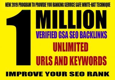 1 Million Verified GSA SEO Backlinks for Unlimited URLs & Keywords