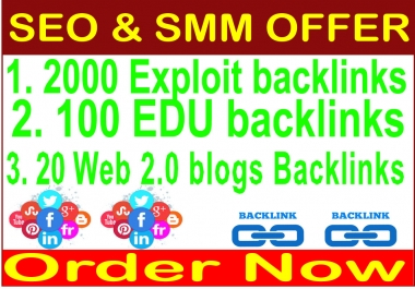 SEO & Social Offer 2019-  2000 Exploit backlinks- 100 .EDU backlinks-20 Web 2.0 blogs