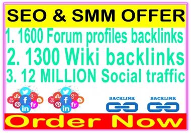HQ Indexer SEO & SMM Package-1600 Forum profiles backlinks-1300 Wiki backlinks-Promotion 10 Million social People