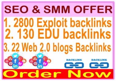 High Indexer SEO Package - 2800 Exploit backlinks-130 EDU backlinks- 22 Web 2.0 blogs