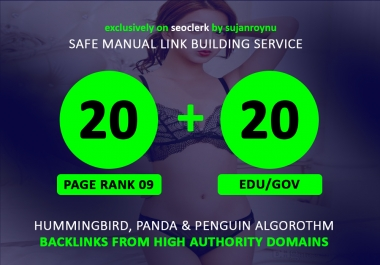 20 Pr9 + 20 Edu - Gov SEO High Pr 70+ Authority Backlinks Top One Google Ranks