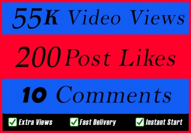 World Wide 55000 Video Views Promotion Or 200 Likes Or 10 Comments for Social media Marketing