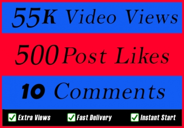 World Wide 55000 Video Views Promotion Or 500 Likes Or 10 Comments for Social media Marketing