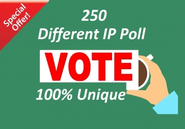 Bring you 250 Different ip Votes Single Click Poll Contest