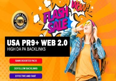 Boost Rank With 150 USA Pr9 and 50 Web 2.0 SEO Backlinks