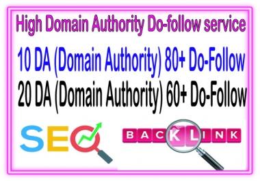 DA Campaign - Do 30  Domain Authority 10 DA80 + 20 DA60 to Rank your Google