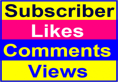 Manually Basic Likes, Video Comments, Views,Channel Promotion Instant Start