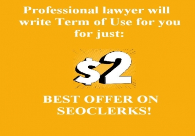 Professional lawyer will write term of use for your website/blog