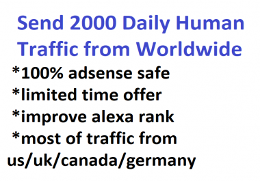 Send 2000 Daily Human Traffic for 10 days