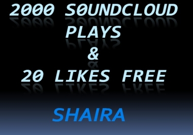 Best Offer 2000 S0und cl0ud plays & 20 Likes in your selected track just