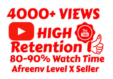 Super Fast 4000+ High Retention Desktop Views 80-90% Retention