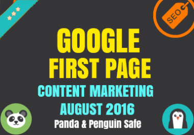 Guaranteed Google 1st Page - With Content Marketing - August Update