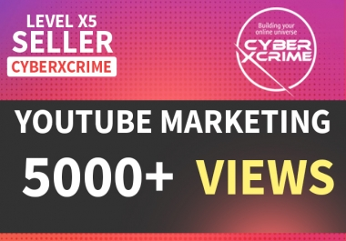 Get you 5000 High Retention YouTube Views within 48hrs