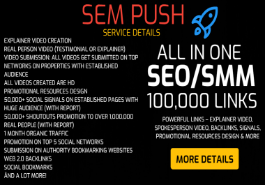 SEM Push - Complete SEO and Marketing Package - 100,000+ Links - Video, Testimonial, Backlinks, Signals, Web 2.0, Tier 2 Links, Traffic, Promotional Resources Design & more