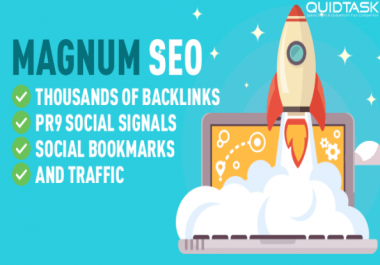 Magnum SEO - 10,000 Backlinks - 2500 Signals - Video Creation - UNLIMITED Traffic - Bookmarks with 50 SHOUTOUTS TO 1 MILLION people on Social Media included - Video Submission - 26,298+ ORDERS